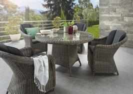 Destiny Malaga Luna II Vintage Grau Tisch Gartenmöbelset Garnitur Sitzgruppe Esstisch Rundtisch
