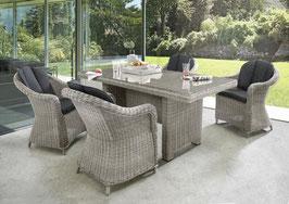 Destiny Malaga Luna Sitzgruppe Vintage Weiß Tisch 165x100 Loungegruppe Sessel