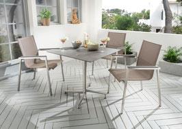 Destiny Essgruppe Altos II Taupe mit Loft Tisch Edelstahl Textilene Taupe Gartensessel Sitzgruppe