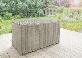 DESTINY Kissentruhe XL Casa vintage weiß / grau / braun Polyrattan Kissenbox Geflecht Polsterbox Polstertruhe passend zu Luna, Merano, Palma, Riviera