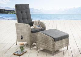 Destiny Hochlehner Sessel Palma Komfortsessel inkl. Casa Fußhocker vintage weiß