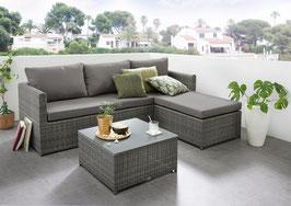 Destiny Loungegruppe Pesaro Ecklounge Ottomane Fußhocker verstellbar Polyrattanlounge Dark grey mit Tisch und Polstern Gartenlounge