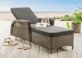 Destiny Liege Casa Luna Vintage Weiß / Grau / Braun Polyrattan Gartenliege Relaxliege & Polster Sonnenliege verstellbar mit Armlehnen