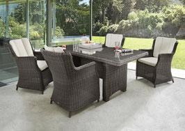 Destiny Luna Sitzgruppe Vintage Braun Tisch 165x90 cm Loungegruppe Sessel