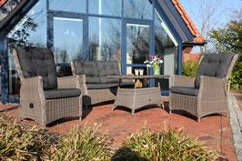 Destiny Loungegruppe Casa Relax Lounge Sofa Relaxsessel Tisch Polyrattan Dininglounge