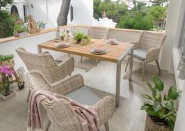 Destiny Loungegruppe Correda Essgruppe Sitzgruppe mit Macao Esstisch 160 cm x 90 cm