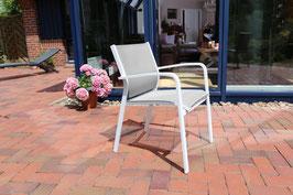 Destiny Sessel Naples Stapelsessel Aluminium Textilene Silbergrau Gartensessel Stuhl