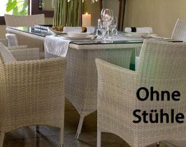 Destiny Tisch Auckland Weiß 165x90 Gartentisch Esstisch Geflechttisch Polyrattan - Ohne Stühle -