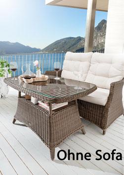 Destiny Gartentisch Loungetisch Casa Vintage braun Tisch Polyrattan 120 x 75 - Ohne Sofa -