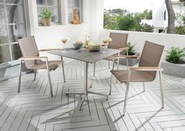 Destiny Essgruppe Altos Taupe mit Loft Tisch Edelstahl Textilene Taupe Gartensessel Sitzgruppe Gartengruppe