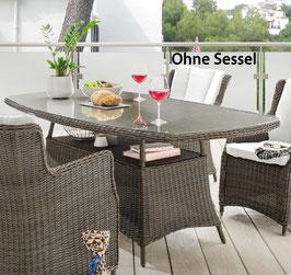 Destiny Gartentisch Luna 180x100 cm Braun Tisch Polyrattan Geflechttisch Esstisch - Ohne Sessel