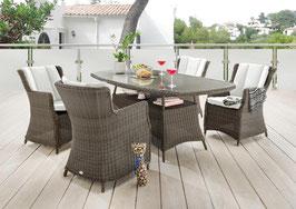 Destiny 5 tlg Sitzgruppe Luna Gartensessel Geflechtisch 180x100 Polyrattan Gartensitzgruppe Vintage Braun