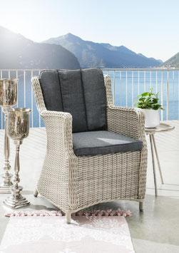 Destiny 2er Set Sessel Luna Vintage Weiß Gartensessel Geflechtsessel Polyrattan