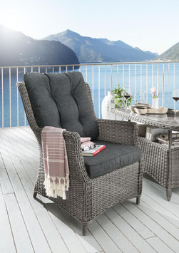Destiny Sessel Casa Vintage Grau / braun / weiß Gartensessel Polyrattan Sessel Geflechtsessel wetterbeständig Loungesessel mit Loungepolster anthrazit / natur