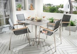 Destiny Essgruppe Altos mit Loft Tisch Edelstahl Textilene Schwarz Gartensessel