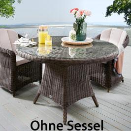 Destiny Gartentisch Luna 120 cm Vintage Braun Tisch Polyrattan Geflechttisch Esstisch - Ohne Sessel -