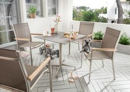 Destiny Gartenset Macao - Loft Tisch - Gartensessel Stapelsessel Edelstahlsessel Edelstahltisch HPL Platte
