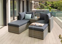 Destiny Ibiza Grau-Braun Polyrattan Lounge Balkonset mit Tisch