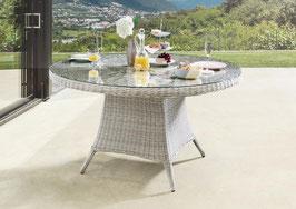 Destiny Gartentisch Luna XXL 150 cm Vintage Weiß Tisch Polyrattan Esstisch ohne Drehtablett - Ohne Sessel -