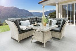 Destiny Loungegruppe Palma Vintage Weiß Lounge Sitzgruppe Sofaset Polyrattan Rattan
