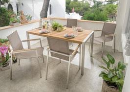 Destiny Essgruppe Altos Macao Tisch Edelstahl Textilene Taupe Gartensessel Sitzgruppe Gartengruppe Teak