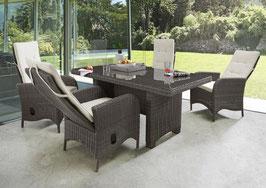 Destiny Palma Luna Sitzgruppe Vintage Braun Tisch 165x90 Loungegruppe Hochlehner