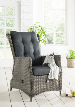 Destiny Vario Komfortsessel Casa Grande Gartensessel Polyrattan Geflechtsessel wetterbeständig Sessel vintage grau / braun / weiß mit Auflage anthrazit / natur