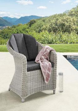 Destiny Sessel Malaga II Vintage Weiß Geflechtsessel Polyrattan Gartensessel mit Sitz- und Rückenkissen