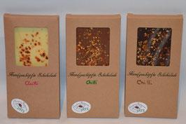 Tafel Schokolade mit Chilli Flocken