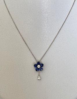 K18WGサファイヤダイヤモンドネックレス