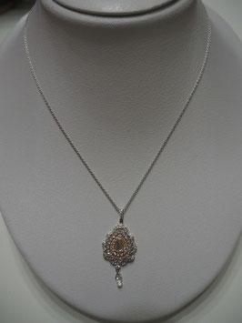 K18ホワイトゴールド ピンクゴールド ダイヤモンドペンダントネックレス