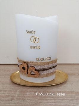 Hochzeitskerze Sonja & Harald