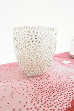 Leuchter 8,5cm weiß/silber