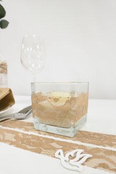 Glaswürfel mit Teelicht