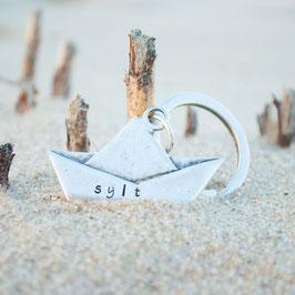 Schlüsselanhänger Schiffchen Gravur
