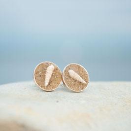 Ohrstecker Silber mit Sand und Schnecken
