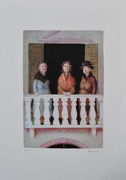 Antonio Bueno - Tre vecchie sorelle al balcone