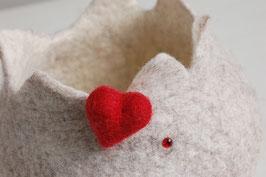 Filzkörbchen natur mit Herz