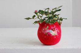 Filzkörbchen rot mit Blumen