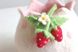 Filzkörbchen weiß mit Erdbeeren
