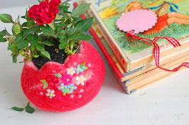 Filzkörbchen rot mit eingenadelten Rosen