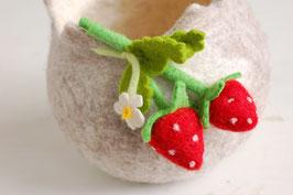 Filzkörbchen natur mit Erdbeeren
