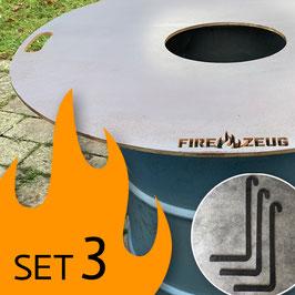 SET 3: FIRE-ZEUG-Platte + Feuertonne + Abstandshalter