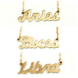 Astrology Name Plate Pendant with 14K Gold Fill Necklace