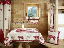 Galtex Tischdecke 140x220cm Monte Rosa Country Landhaus Rot