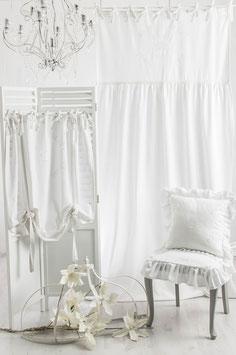 Rose Queen White *** weiss bestickt ***         Vorhang 1x (100x50cm+150x200cm) =250cm Gesamtlänge