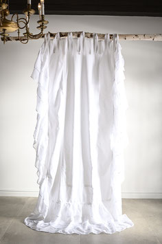 *MAXI FRILLS LOVE * 90x250cm Gardine Vorhang  frill lace Landhaus Shabby Vintage White curtain Volant Spitze weiss