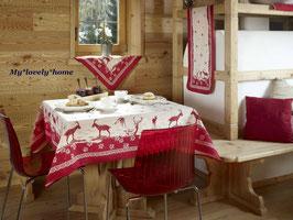 Galtex Tischdecke 140x180cm Moncenisio Country Landhaus Rot