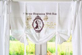 Madam Roses weiss beiger Druck Raffgardine 100x120cm