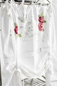 Rose Garden farbig bedruckt mit Spitze Raffgardine 120x120cm